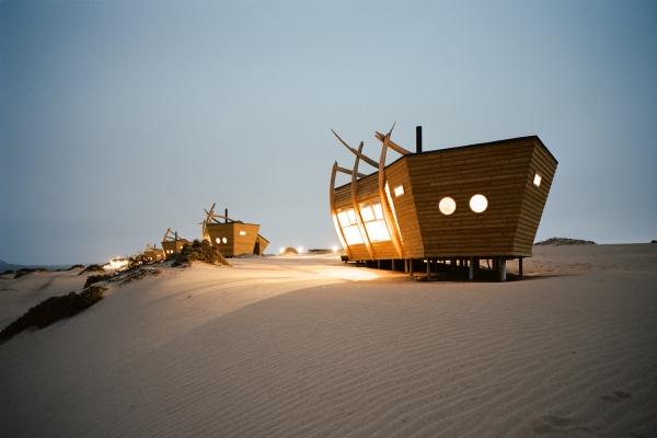 The rooms at Shipwreck Lodge set along a coastal sand dune