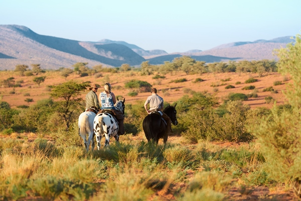 Enjoying Tswalu's stunning scenery on horseback