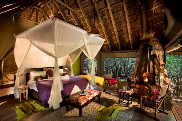 Luxuriously appointed tented suite at Jaci's Safari Lodge
