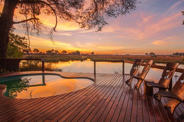 Kwando Lagoon Camp sunset