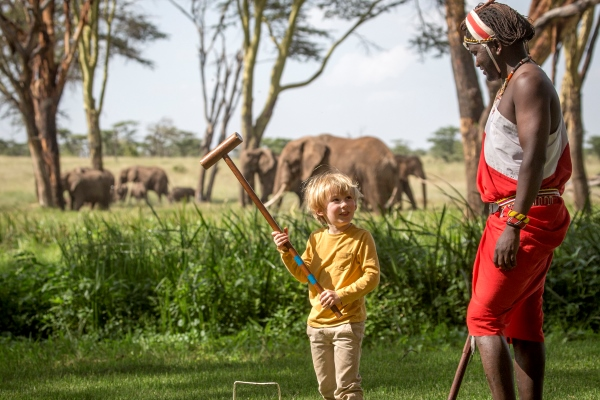 Croquet with a difference at Sirikoi House, Lewa, Kenya.
