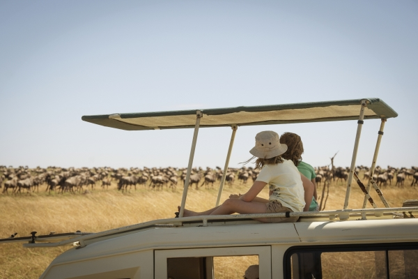 Children on a wildlife drive from Serengeti Safari Camp