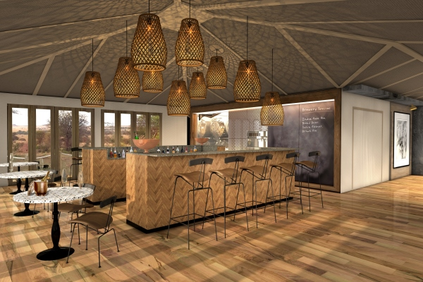 An artists' impression of the new bar at Sayari, complete with brewery specials on the blackboard!