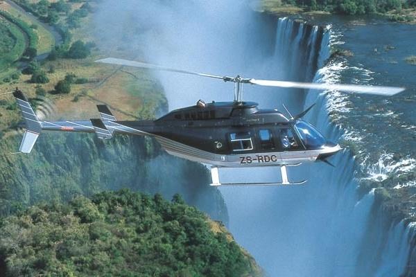 Stanley Safari Lodge, heli flip over the Victoria Falls